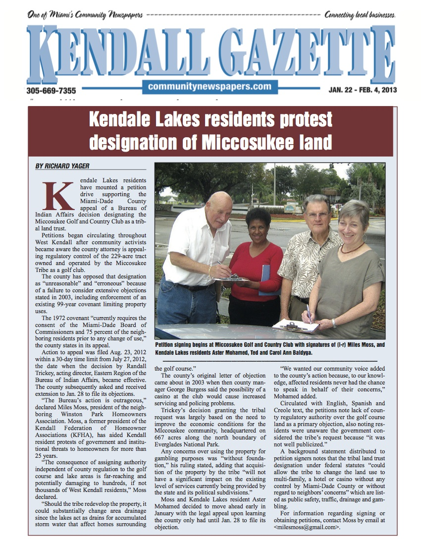 Miccosukee land first issue