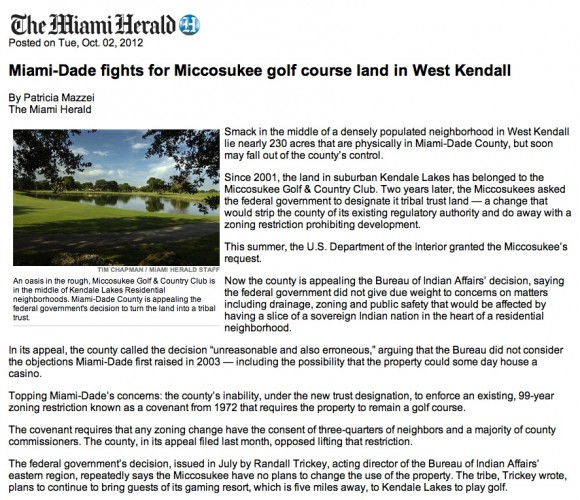 Miami-Dade fights for Miccosukee golf course land in West Kendall