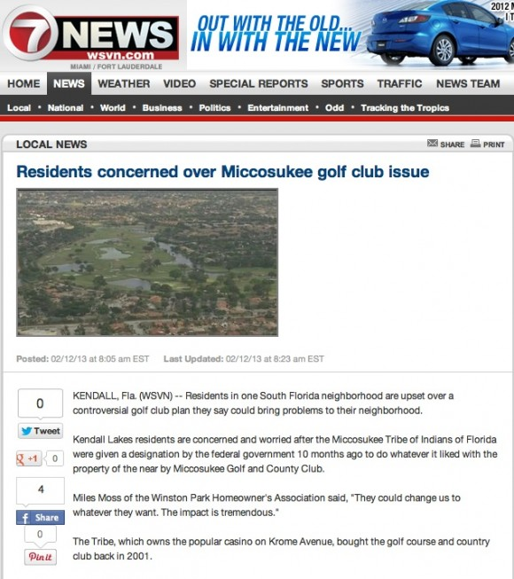 Residents concerned over Miccosukee golf club issue